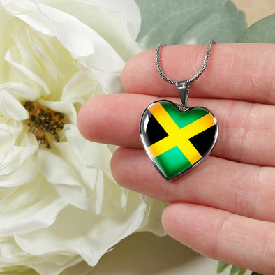 Jamaica Flag Heart Pendant Necklace - lottierocks