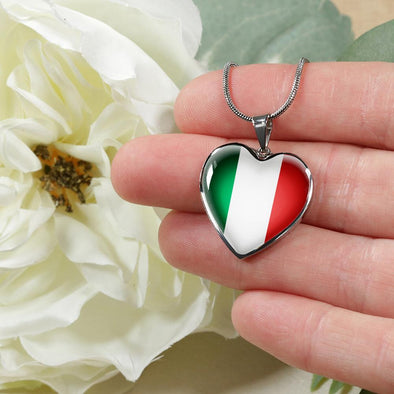 Italy Flag Heart Pendant Necklace - lottierocks