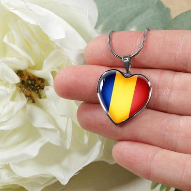 Romania Flag Heart Pendant Necklace - lottierocks