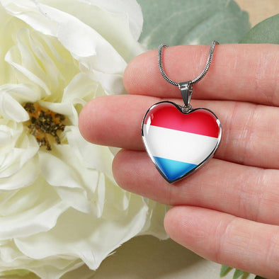 Luxembourg Flag Heart Pendant Necklace - lottierocks