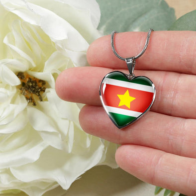 Suriname Flag Heart Pendant Necklace - lottierocks