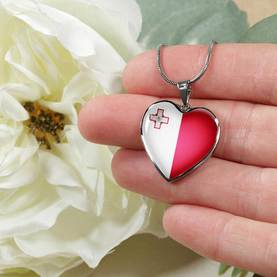 Malta Flag Heart Pendant Necklace - lottierocks