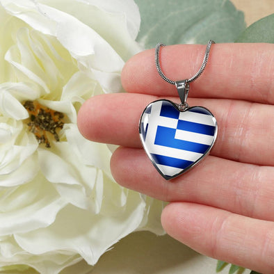 Greece Flag Heart Pendant Necklace - lottierocks