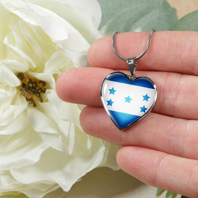 Honduras Flag Heart Pendant Necklace - lottierocks