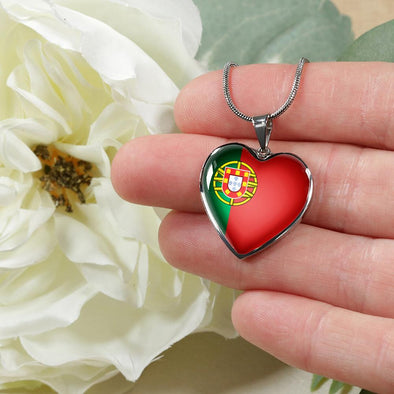Portugal Flag Heart Pendant Necklace - lottierocks