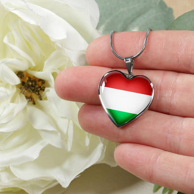 Hungary Flag Heart Pendant Necklace - lottierocks