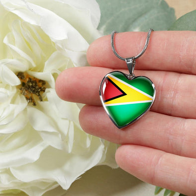 Guyana Flag Heart Pendant Necklace - lottierocks