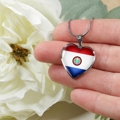 Paraguay Flag Heart Pendant Necklace - lottierocks