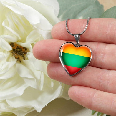 Lithuania Flag Heart Pendant Necklace - lottierocks