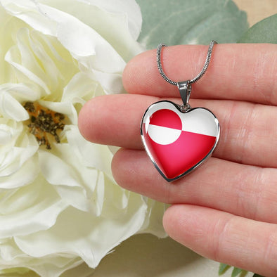 Greenland Flag Heart Pendant Necklace - lottierocks