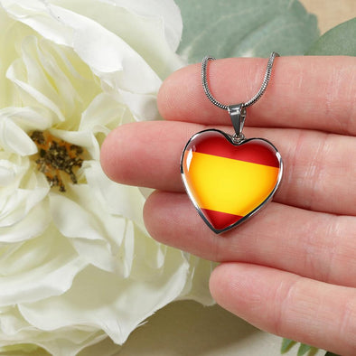 Spain Flag Heart Pendant Necklace - lottierocks