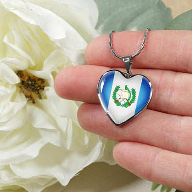 Guatemala Flag Heart Pendant Necklace - lottierocks