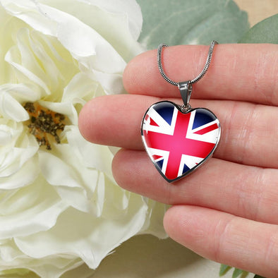 UK Flag Heart Pendant Necklace - lottierocks