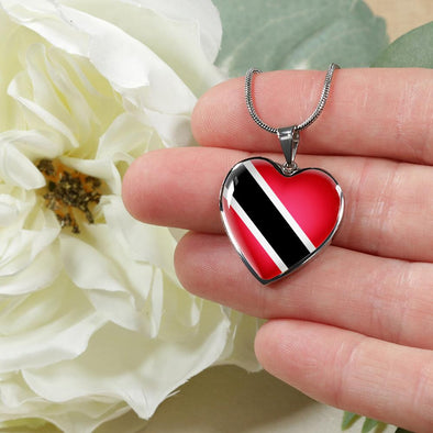 Trinidad Tobago Flag Heart Pendant Necklace - lottierocks