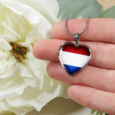 Netherlands Flag Heart Pendant Necklace - lottierocks