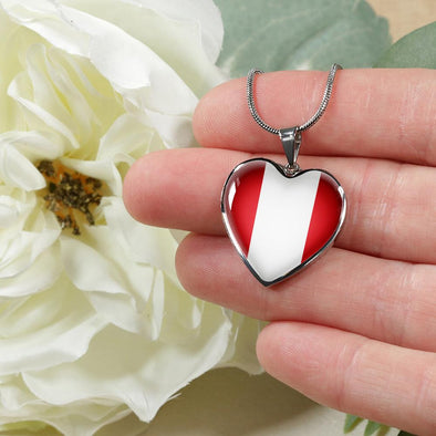 Peru Flag Heart Pendant Necklace - lottierocks