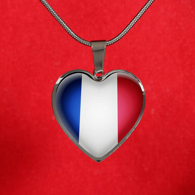 France Flag Heart Pendant Necklace - lottierocks