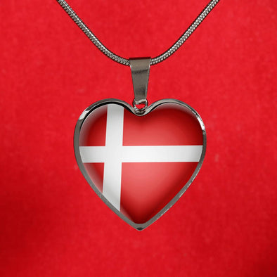 lottierocks:Denmark Flag Heart Pendant Necklace