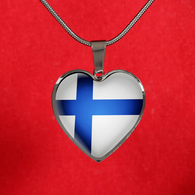 Finland Flag Heart Pendant Necklace - lottierocks