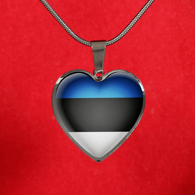 Estonia Flag Heart Pendant Necklace - lottierocks