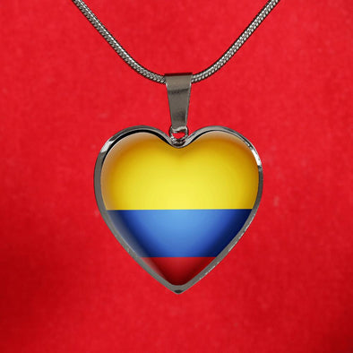 Ecuador Flag Heart Pendant Necklace - lottierocks