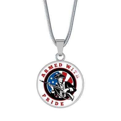 Patriot Armed With Pride Circle Pendant Necklace