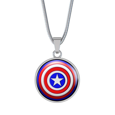 Captain America Circle Pendant Necklace