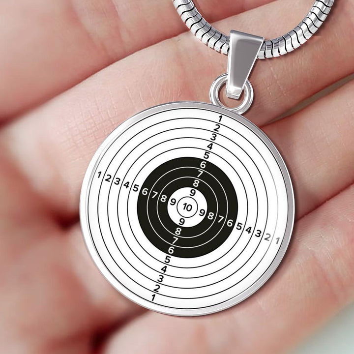 Shooting Paper Target Circle Pendant Necklace - lottierocks