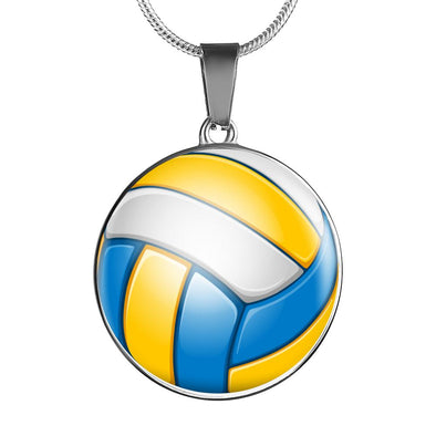 VolleyBall 3D Circle Pendant Necklace - lottierocks