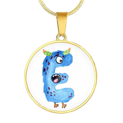 lottierocks:E - Monster HandPainted Letter Circle Pendant Necklace