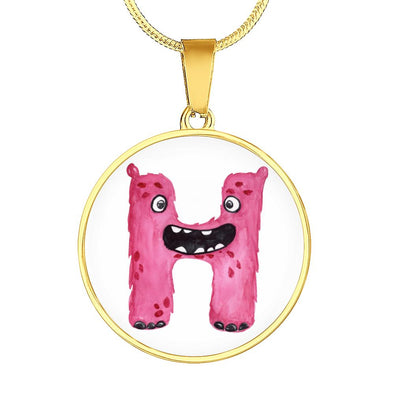 H - Monster HandPainted Letter Circle Pendant Necklace - lottierocks