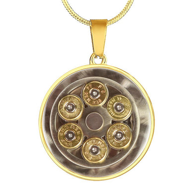 lottierocks:44 Mag Cylinder With Bullets Circle Pendant Necklace