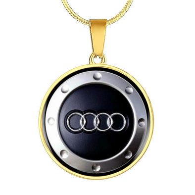 Audi Logo Circle Pendant Necklace - lottierocks