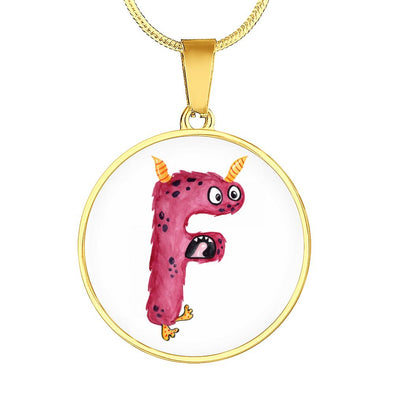 F - Monster HandPainted Letter Circle Pendant Necklace - lottierocks