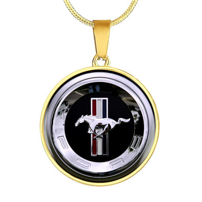 Ford Mustang Logo Circle Pendant Necklace - lottierocks