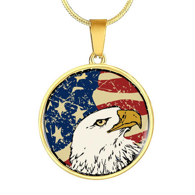 lottierocks:American Eagle USA Flag Circle Pendant Necklace