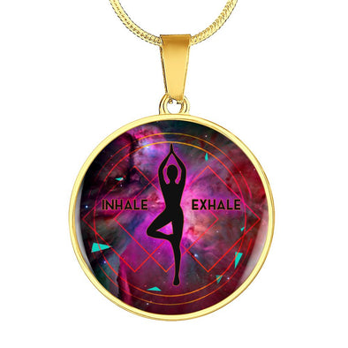 InHale Exhale Yoga Circle Pendant Necklace - lottierocks