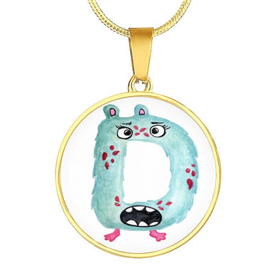 lottierocks:D - Monster HandPainted Letter Circle Pendant Necklace