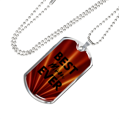 Best MOM Ever Dog Tag Red/Silver Necklace