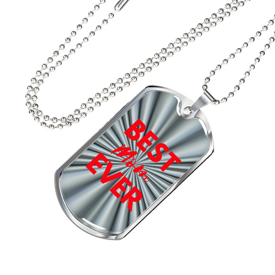 Best MOM Ever Dog Tag Silver/Red Necklace