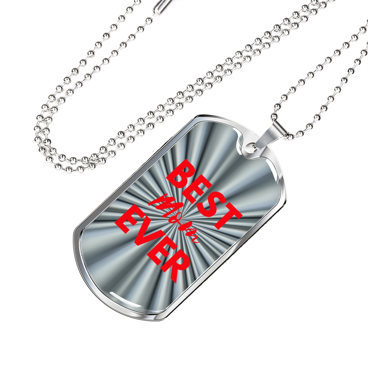 lottierocks:Best MOM Ever Dog Tag Silver/Red Necklace