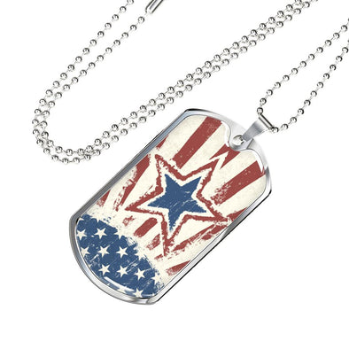 USA Independence Day Patriotic Banner Dog Tag Necklace