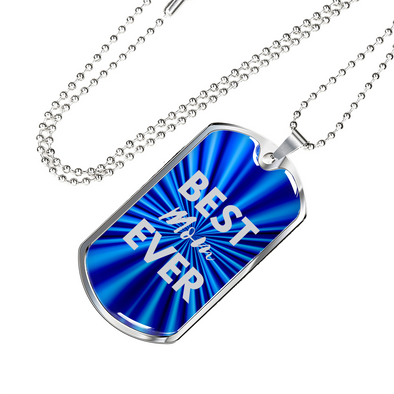 Best MOM Ever Dog Tag Blue/Silver Necklace