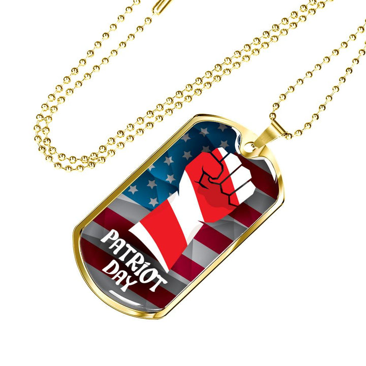 USA Patriot Day Fist Banner Dog Tag Necklace