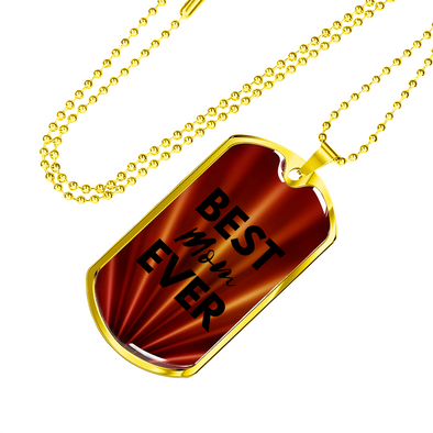 Best MOM Ever Dog Tag Red/Gold Necklace