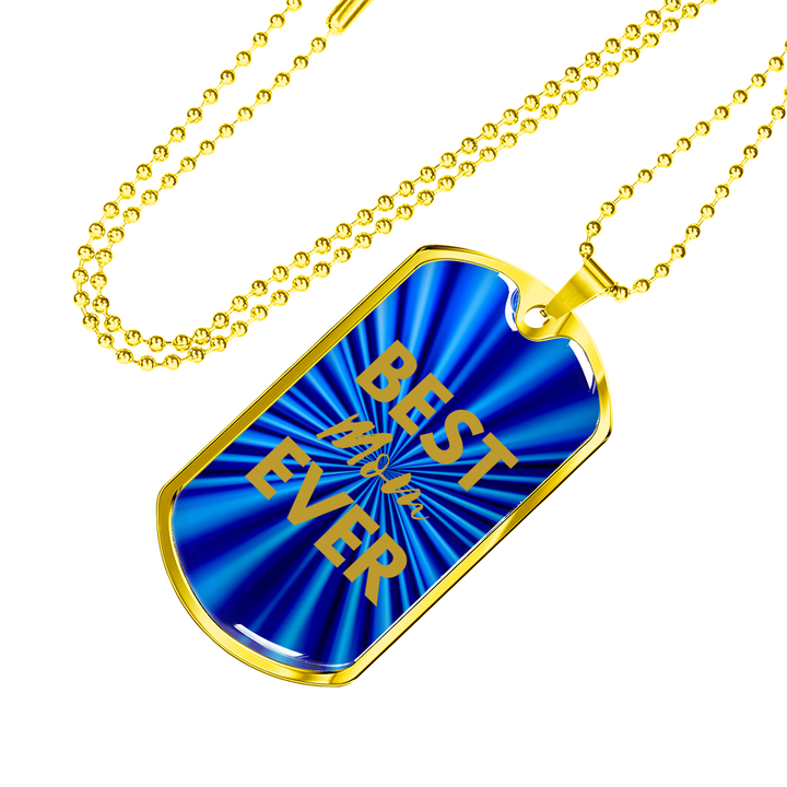 Best MOM Ever Dog Tag Blue/Gold Necklace