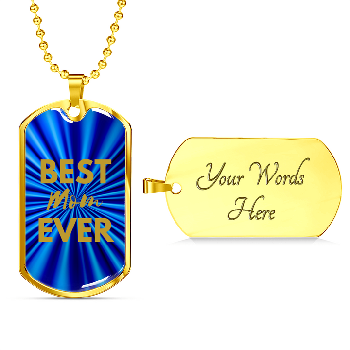 lottierocks:Best MOM Ever Dog Tag Blue/Gold Necklace