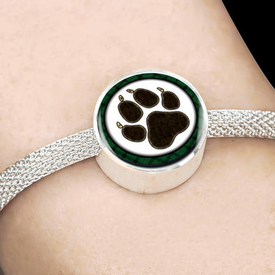 Dog Paw Print Circle Charm Surgical Steel Bracelet - lottierocks