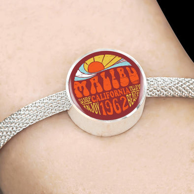 Malibu California Circle Charm Surgical Steel Bracelet