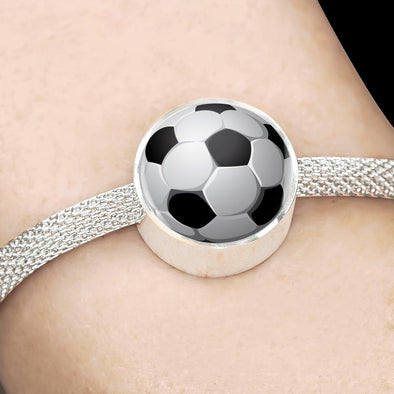 SoccerBall - FootBall 3D Circle Charm Surgical Steel Bracelet - lottierocks